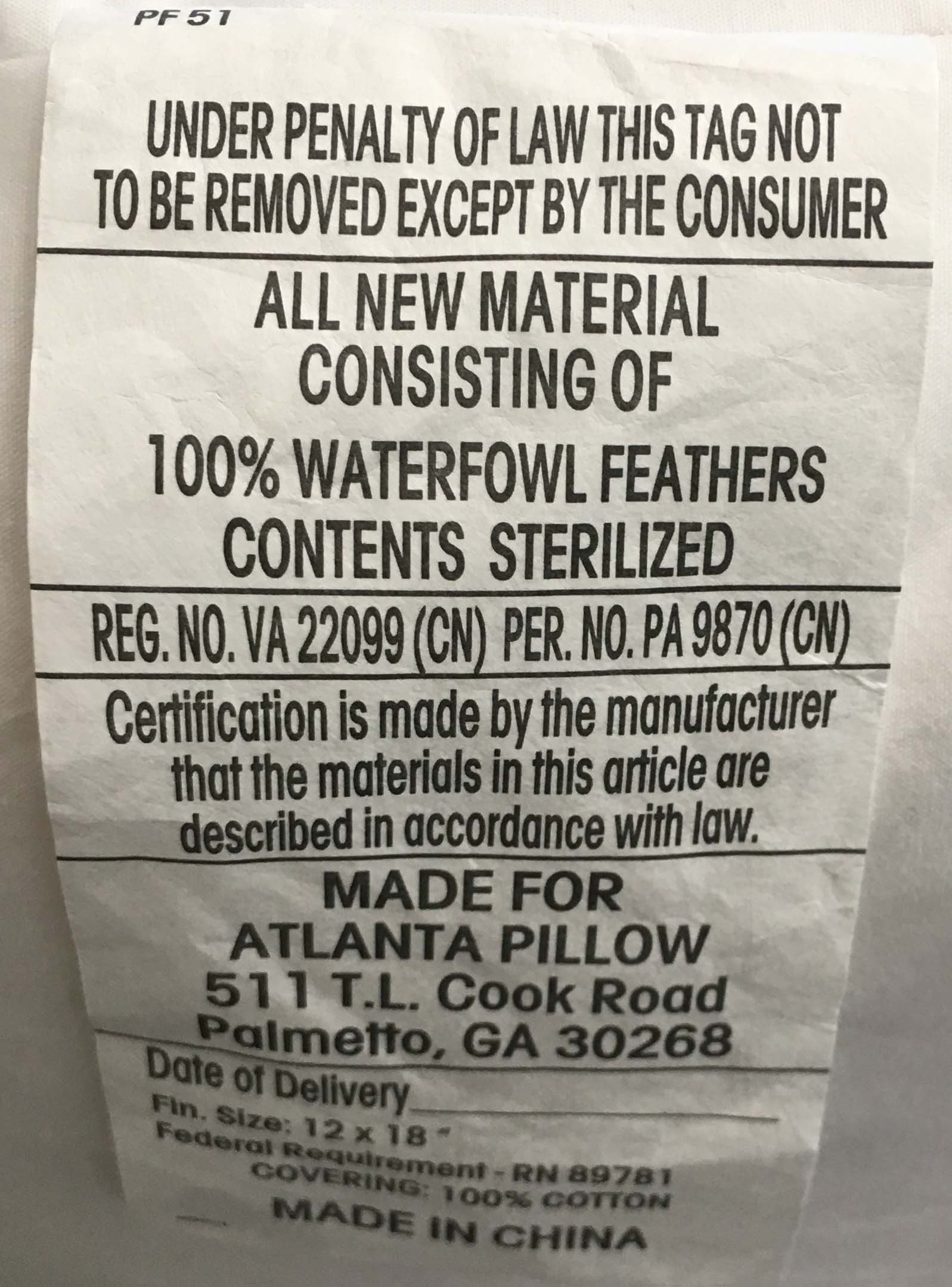 No Poke Feather Pillow